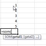 lijstje getallen optellen met formule som